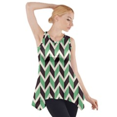 Zigzag Chevron Pattern Green Black Side Drop Tank Tunic