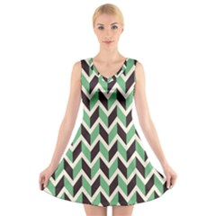 Zigzag Chevron Pattern Green Black V Neck Sleeveless Skater Dress