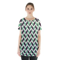 Zigzag Chevron Pattern Green Black Skirt Hem Sports Top