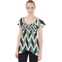 Zigzag Chevron Pattern Green Black Lace Front Dolly Top