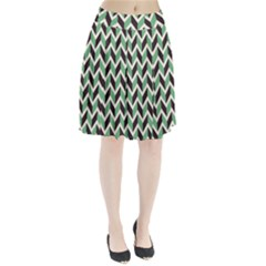 Zigzag Chevron Pattern Green Black Pleated Skirt