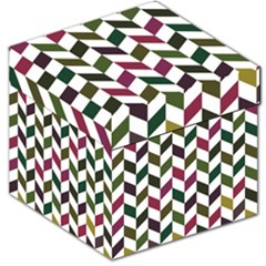 Zigzag Chevron Pattern Green Purple Storage Stool 12