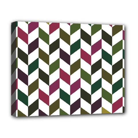 Zigzag Chevron Pattern Green Purple Deluxe Canvas 20  X 16