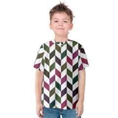 Zigzag Chevron Pattern Green Purple Kids  Cotton Tee