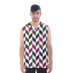 Zigzag Chevron Pattern Green Purple Men s Basketball Tank Top