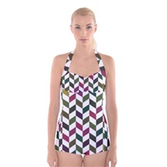 Zigzag Chevron Pattern Green Purple Boyleg Halter Swimsuit