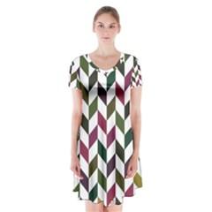 Zigzag Chevron Pattern Green Purple Short Sleeve V Neck Flare Dress