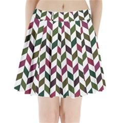 Zigzag Chevron Pattern Green Purple Pleated Mini Skirt
