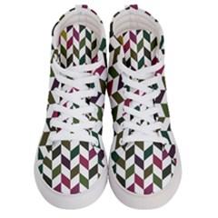 Zigzag Chevron Pattern Green Purple Men s Hi Top Skate Sneakers