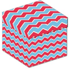 Zigzag Chevron Pattern Blue Red Storage Stool 12