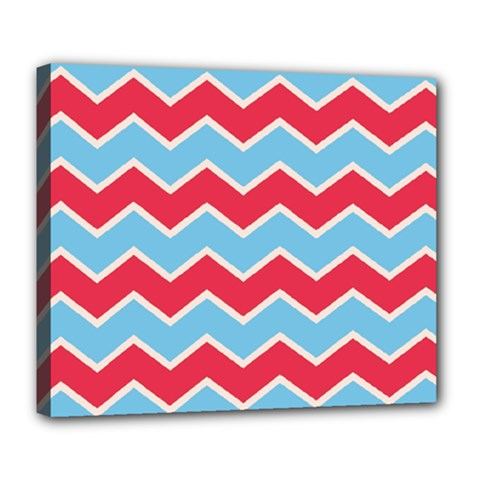 Zigzag Chevron Pattern Blue Red Deluxe Canvas 24  X 20