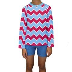 Zigzag Chevron Pattern Blue Red Kids  Long Sleeve Swimwear