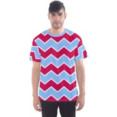 Zigzag Chevron Pattern Blue Red Men s Sports Mesh Tee
