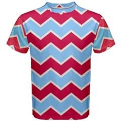 Zigzag Chevron Pattern Blue Red Men s Cotton Tee