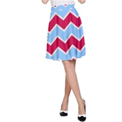 Zigzag Chevron Pattern Blue Red A Line Skirt