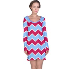 Zigzag Chevron Pattern Blue Red Long Sleeve Nightdress