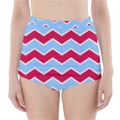 Zigzag Chevron Pattern Blue Red High Waisted Bikini Bottoms