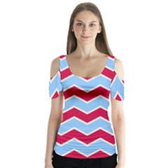 Zigzag Chevron Pattern Blue Red Butterfly Sleeve Cutout Tee
