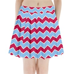 Zigzag Chevron Pattern Blue Red Pleated Mini Skirt