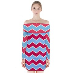 Zigzag Chevron Pattern Blue Red Long Sleeve Off Shoulder Dress