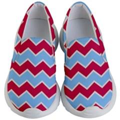 Zigzag Chevron Pattern Blue Red Kid s Lightweight Slip Ons
