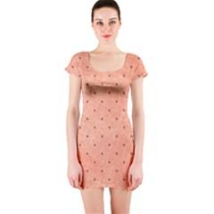 Dot Peach Short Sleeve Bodycon Dress
