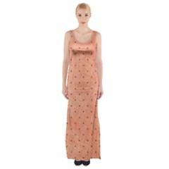 Dot Peach Maxi Thigh Split Dress