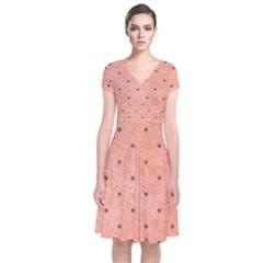 Dot Peach Short Sleeve Front Wrap Dress