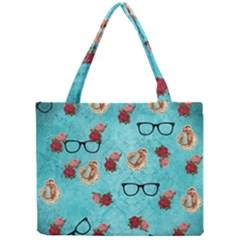 Vintage Glasses Blue Mini Tote Bag