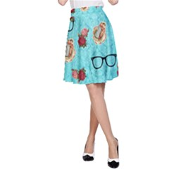 Vintage Glasses Blue A Line Skirt