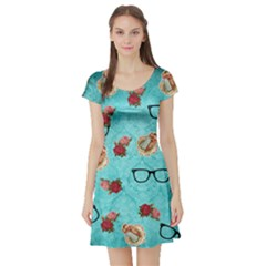 Vintage Glasses Blue Short Sleeve Skater Dress