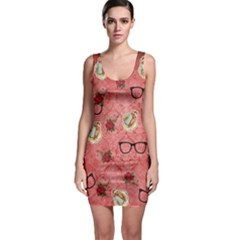 Vintage Glasses Rose Bodycon Dress