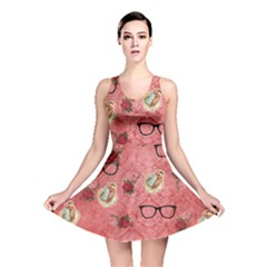 Vintage Glasses Rose Reversible Skater Dress