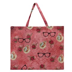 Vintage Glasses Rose Zipper Large Tote Bag