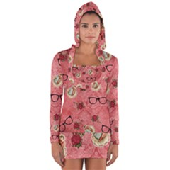 Vintage Glasses Rose Long Sleeve Hooded T Shirt