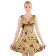 Vintage Glasses Beige V Neck Sleeveless Skater Dress
