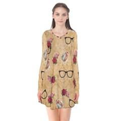 Vintage Glasses Beige Flare Dress