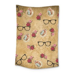 Vintage Glasses Beige Small Tapestry