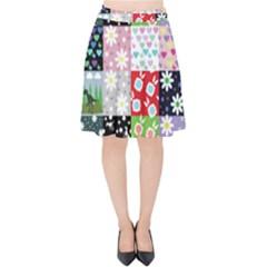 Dino Quilt Velvet High Waist Skirt
