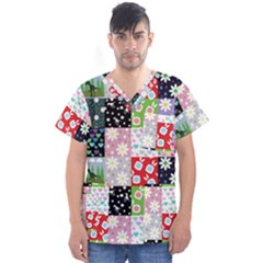 Dino Quilt Men s V Neck Scrub Top