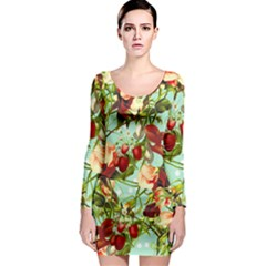 Fruit Blossom Long Sleeve Bodycon Dress