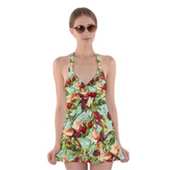 Fruit Blossom Halter Dress Swimsuit