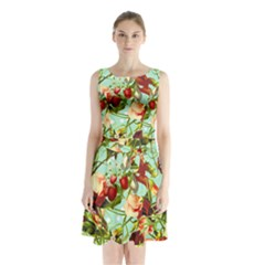 Fruit Blossom Sleeveless Waist Tie Chiffon Dress