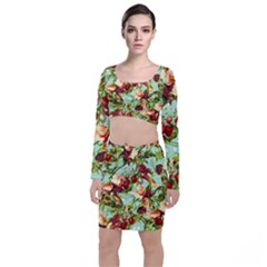 Fruit Blossom Long Sleeve Crop Top & Bodycon Skirt Set