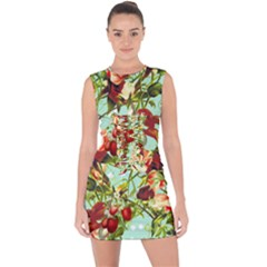 Fruit Blossom Lace Up Front Bodycon Dress