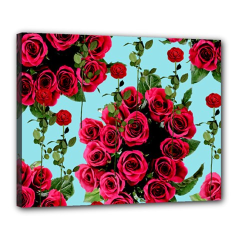 Roses Blue Canvas 20  X 16
