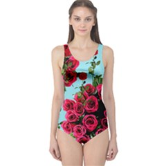 Roses Blue One Piece Swimsuit