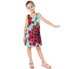 Roses Blue Kids  Sleeveless Dress