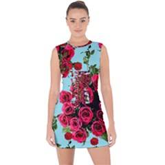 Roses Blue Lace Up Front Bodycon Dress