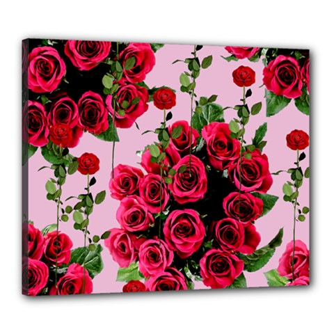 Roses Pink Canvas 24  X 20